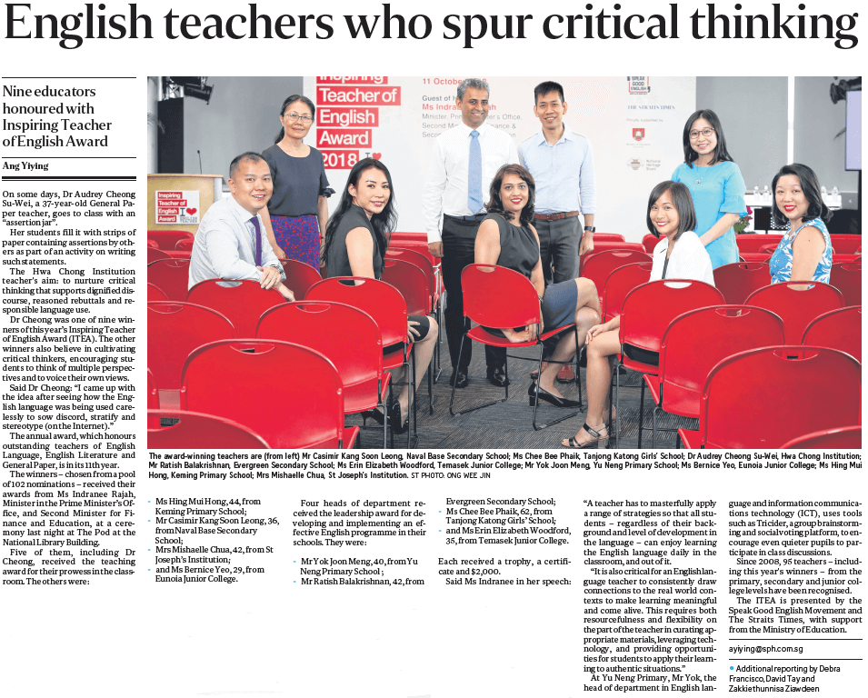 English teachers who spur critical thinking